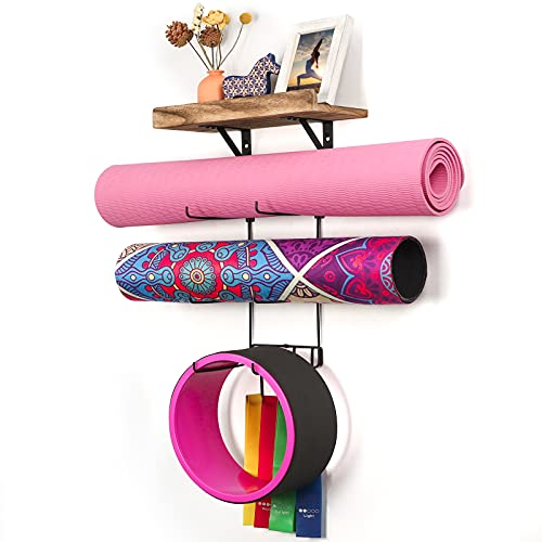 Yoga Mat Holder Wall Mount Yoga Mat Storage Home Gym Accessories with Wood Floating Shelves and 4 Hooks for Hanging Foam…