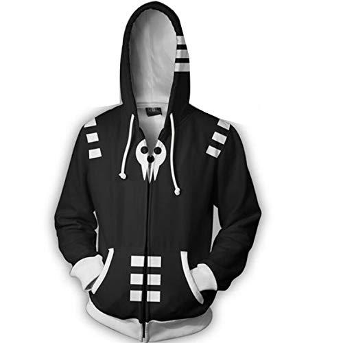 Nsoking Hot Anime Soul Eater Death The Kid Cosplay Costumes 3D Printed Sports Jacket Hoodie (Medium, Black)