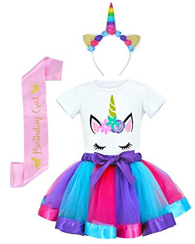 JiaDuo Girls Unicorn Costume Rainbow Tutu Skirt with White Shirt, Headband & Satin Sash Deep Purple Large/5-7X