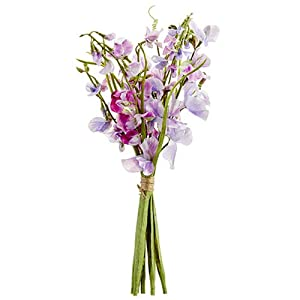 17″ Sweet Pea Silk Flower Stem Bundle -Lavender/Boysenberry (Pack of 6)