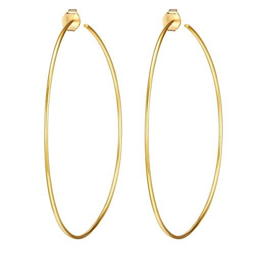 Glanzstücke München Damen-Ohrcreolen Sterling Silber gelbvergoldet - Creole 70 mm gelb-gold Ohr-Schmuck Ohrringe gold