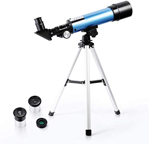 First Telescope for Kids & Beginners, Portable Refractor Telescope 90x Magnification with Tabletop Tripod and Two Eyepieces - Best Gift for Kids to Explore Moon Space, View Wildlife, Watch Night-Sky