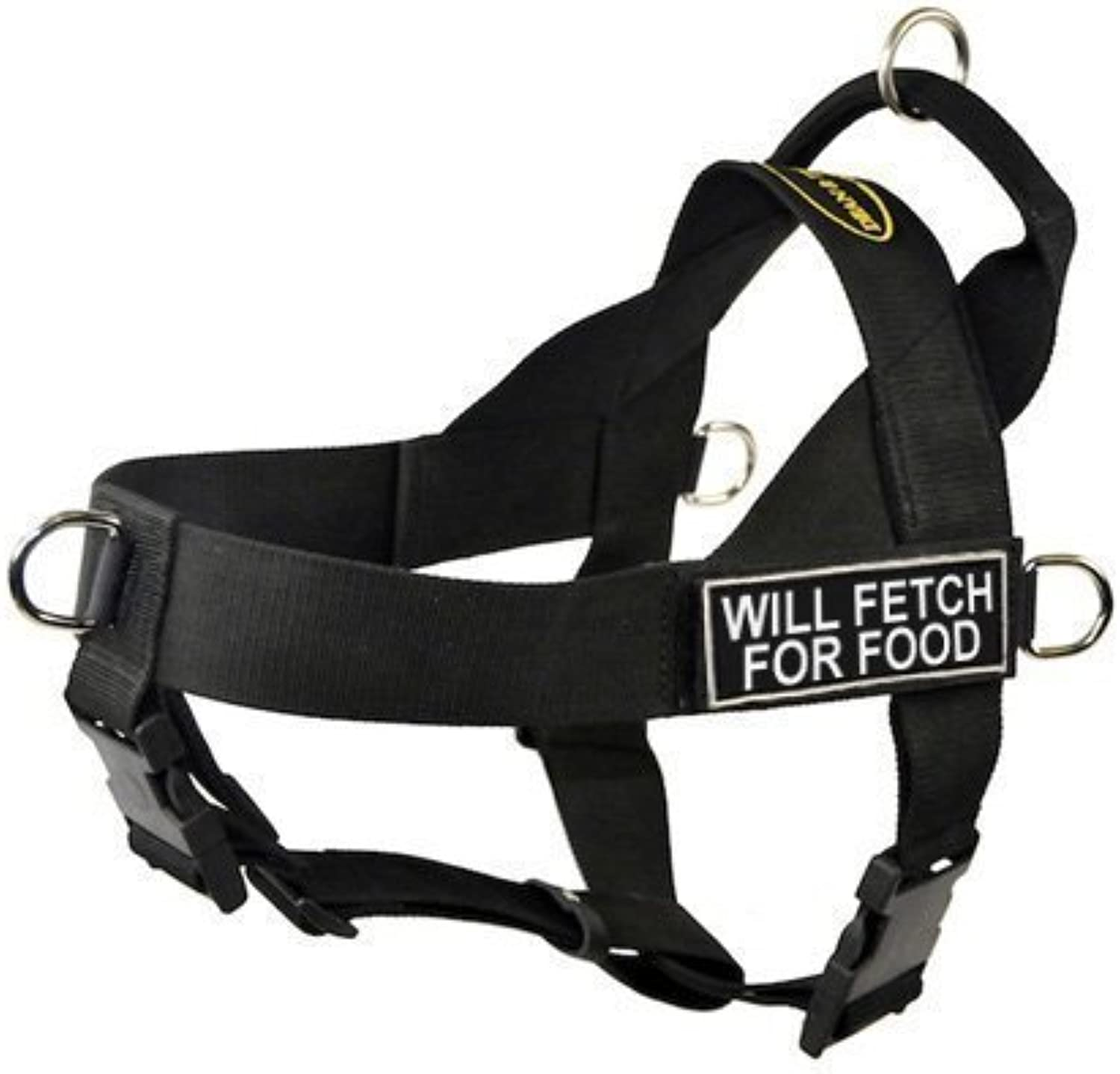 DT Universal No Pull Dog Harness, Will Fetch For Food, Black, XSmall  Fits Girth Size  51cm to 64cm