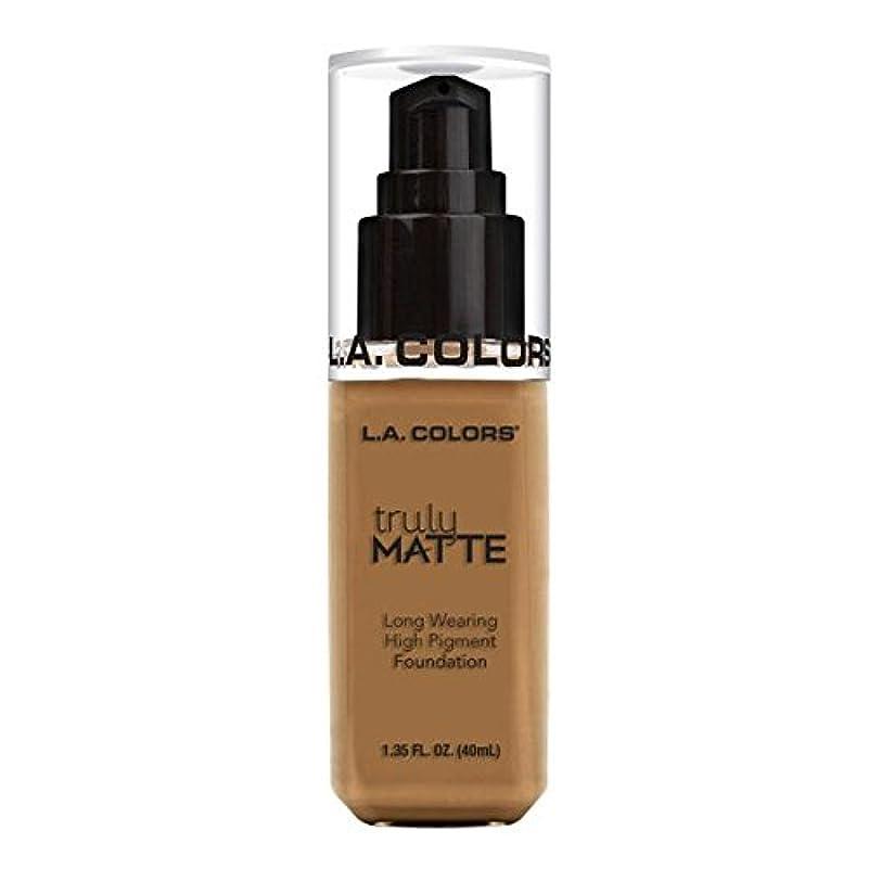 タイル執着真夜中(3 Pack) L.A. COLORS Truly Matte Foundation - Warm Caramel (並行輸入品)