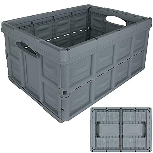 Klappbox 45L pastell mit Farbwahl Einkaufskorb Kunststoff Korb Box klappbar Autokorb Einkaufskiste Faltkiste Einkaufsbox (Pastell Blau)