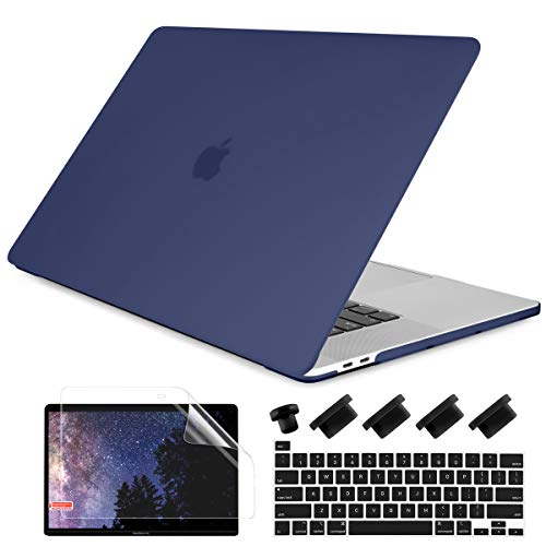 Dongke for MacBook Pro 13 inch Case 2020 Release Model A2338 M1 A2251 A2289, Plastic Hard Shell Case & Keyboard Cover Only Compatible with MacBook Pro 13 2020 Touch Bar Fits Touch ID, Navy Blue