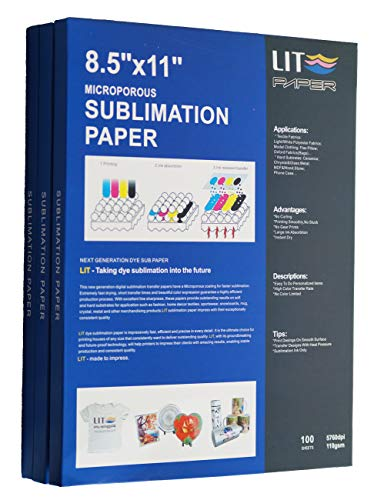 LIT Sublimation Paper 8.5 x 11 Inch, 100 Sheets,110gsm - Heat Transfer Paper For Any Epson Sawgrass HP Inkjet Printer With Sublimation Ink