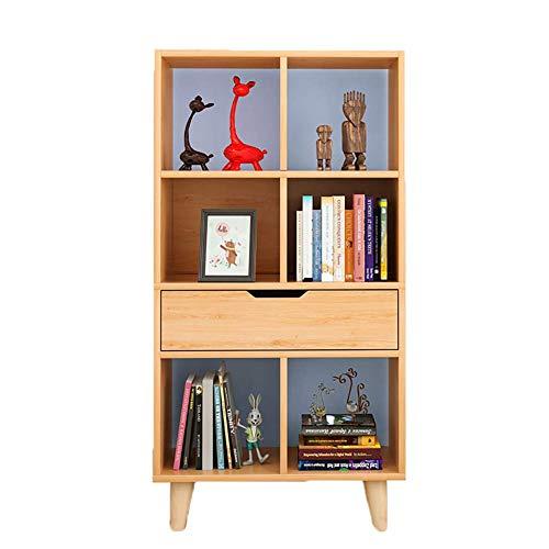 shelf Simple Bookshelf,4-tier Solid wood Multipurpose Display rack Easy assembly Floor-standing Storage rack Modern For home-B 53x30x120cm(21x12x47inch),Size:53x30x120cm(21x12x47inch),Colour:C R
