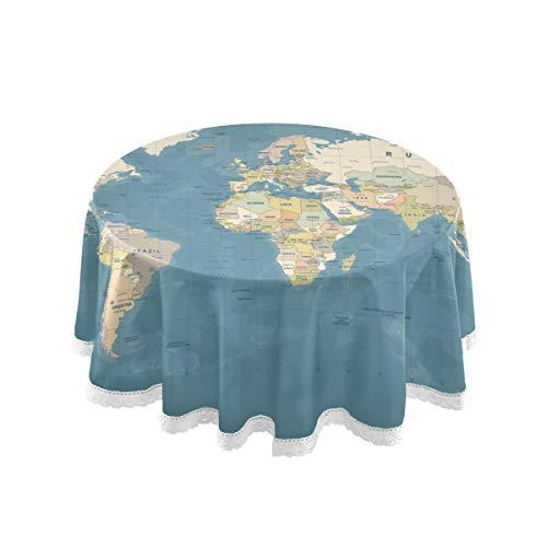 DOSHINE Mantel, Mapa del Mundo Azul Redondo de la Mesa de la Cubierta de la Tabla...