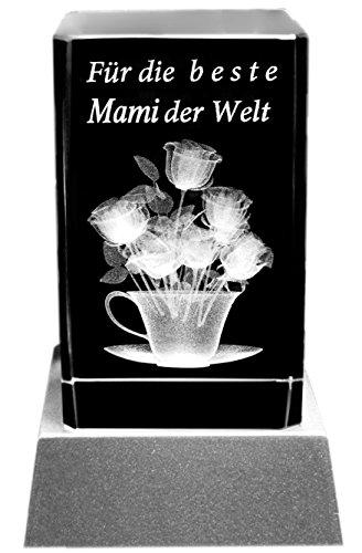 Kaltner Präsente Stimmungslicht - LED Kerze/Kristall Glasblock / 3D-Laser-Gravur Motiv Geschenkidee Mutter Beste Mami der Welt