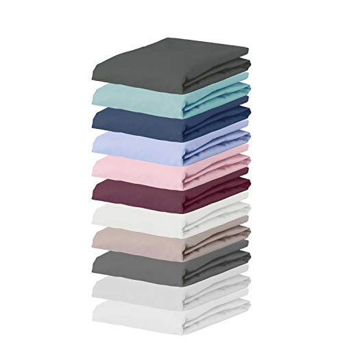 ESPRIT Spannbettlaken 100x200 cm • Spannbetttuch Baumwolle • Bettlaken rot • Bettbezug Spannleintuch mit Gummizug