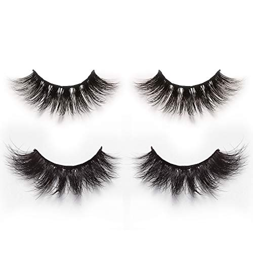 3D & 4D False Eyelashes Pack of 2 Pairs, Long & Thick Handmade Fake Lashes in Dramatic & Natural Look Style
