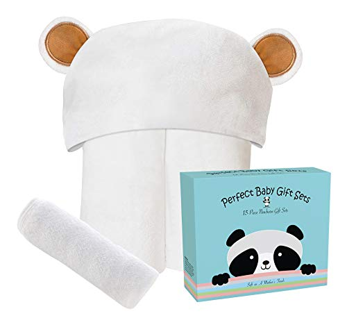 Premium Ultra Soft Bamboo Baby Hooded Towel and Washcloth Sets with Unique Design – Hypoallergenic Animal Bear Boy Girl Bath Towels for Infant and Toddler – Suitable as Newborn Shower Gifts - Yellow