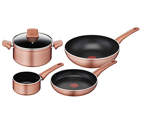 Lagostina Cobre - Juego de ollas y sartenes, exterior efecto cobre, aluminio antiadherente, 5 unidades, color negro
