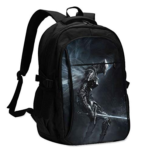 Anime Game Dark Souls Laptop Backpack Anti Theft Water Resistant Durable Computer Bag USB Charging Port Fits 15.6 Inch Laptop and Notebook College School Business Travel