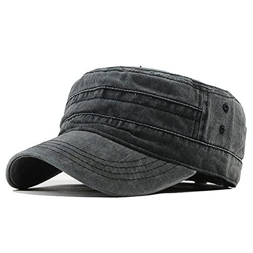 Clásico Vintage Flat Top para Hombre Gorras y Sombrero Lavados Ajustables Gorra más Gruesa Sombreros cálidos de Invierno para Hombres-F314 Black-55 TO 60CM