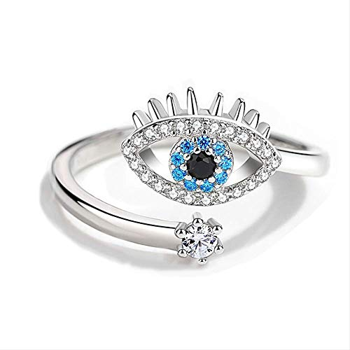 Lucky Evil Eye Rings For Women Girls 925 Sterling Silver Ring Zircon Adjustable Female Open Ring Wedding Bands Jewelry