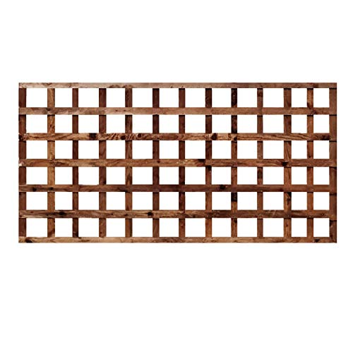 weatherwell ltd Square Garden Trellis Panels Pressure Treated Timber Garden Brown Wooden Trellis 6ft (6ft x 3ft)