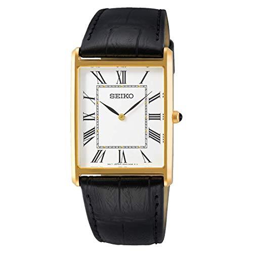 Seiko Reloj de pulsera de cuarzo para hombre de acero inoxidable con piel de ternero en color dorado - SWR052P1