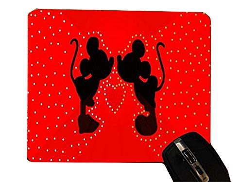 Lovely Cute Mice Silhouettes Red Heart Design Print Image Desktop Office Silicone Mouse Pad by Trendy Accessories