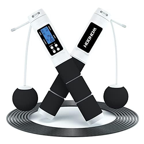 WOHOOH Springseil mit Zähler-2021 Speed Rope Springseil Erwachsene mit Gut Qualitativen Kugellagern und Rutschfesten Handgriffe,Einstellbare Jump Rope Hüpfseil mit Kalorienzähler für Fitness&Training