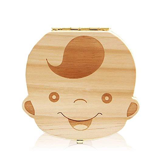Leisial Boîte Dents de Lait pour Bébé Dents de Lait Rangement Enregistrer Cadeaux Boîte en Bois pour Enfants Garçon et Fille Version Française(Garçon)