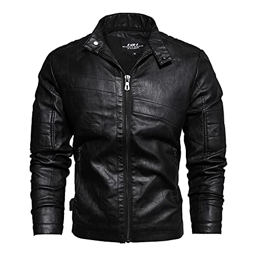 LISI Leather Jacket Chaqueta para Hombre Vintage OtoñO Invierno Bomber Moda Cuero...