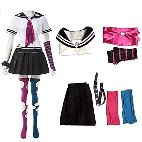 Anime Super DanganRonpa Ibuki Mioda Uniform Suit Cosplay Costume Women Girls Dress Halloween Carnival Costumes (white, 2XL)