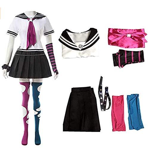 Anime Super DanganRonpa Ibuki Mioda Uniform Suit Cosplay Costume Women Girls Dress Halloween Carnival Costumes (white, XL)