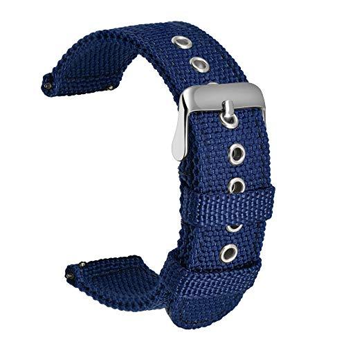 Ullchro Nylon Cinturini Orologi Alta qualità Orologi Bracciale Militari Esercito - 18mm, 20mm, 22mm, 24mm Cinturino Orologio Fibbia Dell'acciaio Inossidabile (22mm, Navy Blue)
