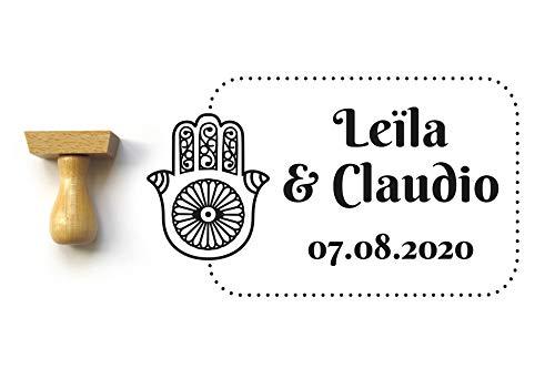 Timbro matrimonio personalizzato con nomi e data, stile orientale con mano fatma, rettangolo 5 x 3 cm