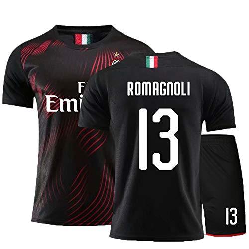Milan13# 19-20 (Home & Away) Kind Erwachsene Fußball-T-Shirt, Fußballuniform, Fußball-Trikots, mit atmungsaktivem und schwitzendem, Fußball-Geschenk 19-20black-130