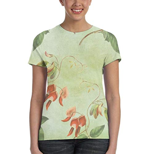 WoodWorths Floral Wallpaper Vintage Women's Short Sleeve T Shirt Tees Colorful Summer(Small,Black)