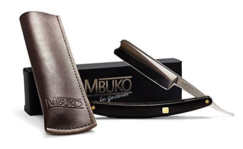 MBUKO Rasiermesser aus Edelstahl mit hochwertigem Griff aus Ebenholz - Set für Einsteiger und Fortgeschrittene - mit Lederetui