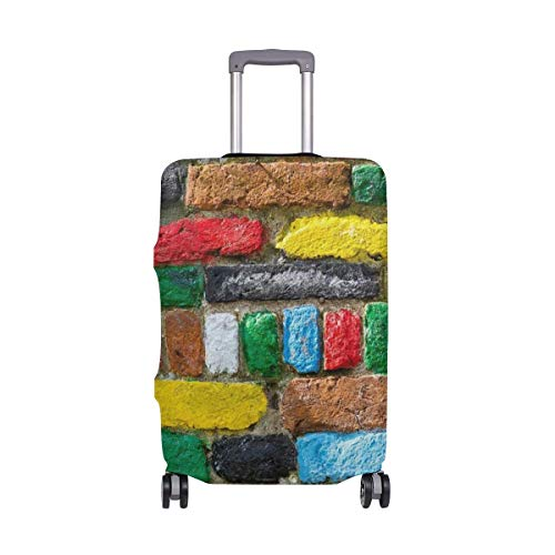 IUBBKI Travel Luggage Cover Colorful Bricks Texture Wall Suitcase Protector FitSch Washable Baggage Covers