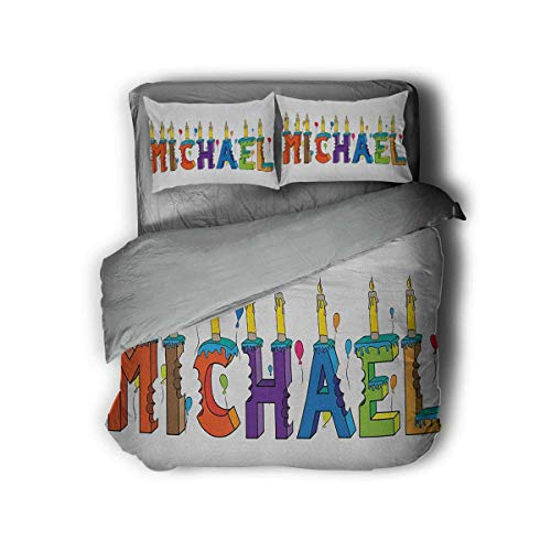 Luoiaax Michael 3-Pack (1 Duvet Cover and 2 Pillowcases) Festive Gathering Theme Colorful Birthday Cake Design Joyous Composition of Letters Polyester (Queen) Multicolor