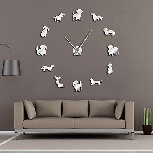 ZYQXI Wanduhr DIY Uhr Wanddekoration Dackeluhr DIY Große Wanduhr Wiener-Hund Hündchen Spiegel Rahmenlos 3D Wanduhren Wursthund Wanddeko-47inch Silber