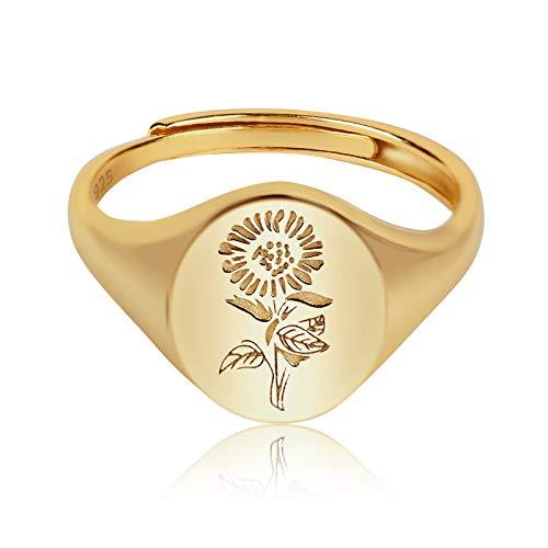 YeGieonr 925 Sterling Silver for Women - Anello con sigillo inciso fiore placcato oro 18 carati Anello minimalista regolabile (disponibile per taglia 15、17、19 ) (Anello con sigillo girasole)