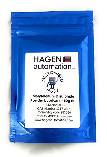 Hagen Automation 50G - Molybdenum Disulphide Powder Lubricant and additive - 98.5% pure 1.5micron - high pressure dry lubricant for driveshaft splines, bearings, engine rebuilds, firearms, etc