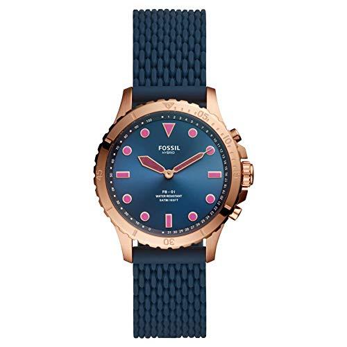 Fossil FB-01 - Hybrid Smartwatch Blue Dial mit dunkelblauem Silikonarmband für Damen - FTW5066