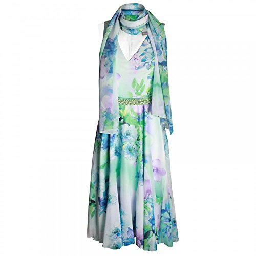 Michaela Louisa A Line Floral Print Dress with Scarf 10 White Multi