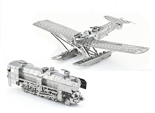 3D Metal Puzzle Models of A Hansa Brandenburg W.29 Plane and A Steam Locomotive - DIY Toy Metal Sheets Assembling Puzzle, 3D Puzzle – 2 Pack