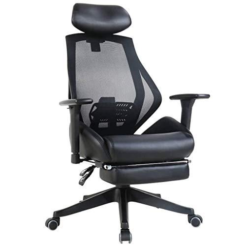 WEI-LUONG PU Silla de ordenador, silla ergonómica hogar confortable oficina Silla giratoria respaldo reclinable Silla de la protuberancia de la cintura 150 ° de descanso de 200Kg, Negro, 45 * 54 * 109