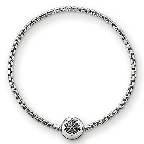 Thomas Sabo Damen Herren-Armband Karma Beads 925 Sterling Silber geschwärzt Länge 19 cm KA0002-001-12-L20
