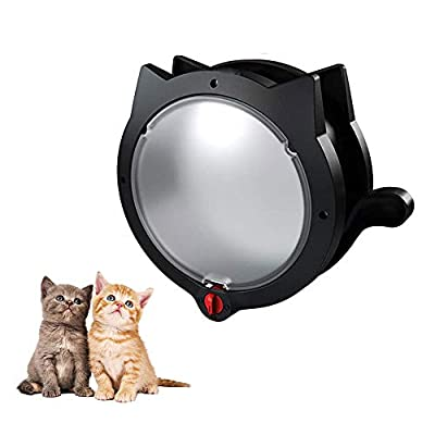 Hosdog Cat Door Flap, Magnetic Pet Door, 4 Way Locking Cat Flap Fits Interior Exterior Doors, Indoor Wall or Hidden Cat Litter Box, Easy to install, Suitable for Small Medium Sized Cats (Black)