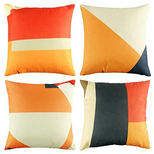 Fodere per Cuscini in Lino Geometrico Arancione - 4 Pezzi Federa per Cuscino con Linee Geometriche Irregolari Motivo per Divano Letto Soggiorno Decorazione della casa