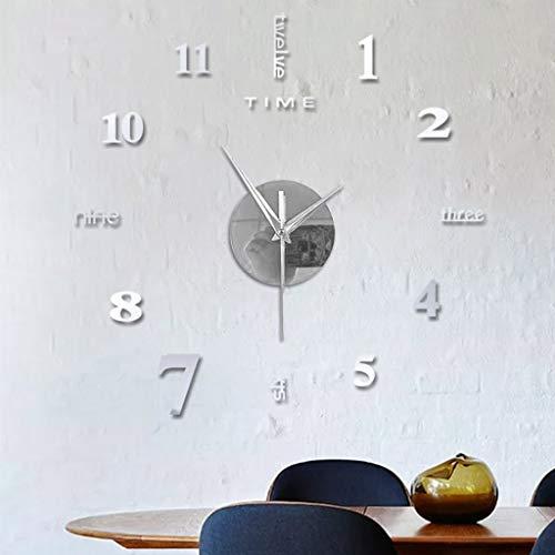 ORGE Orologio silenzioso senza cornice di moda Adesivi murali con superficie a specchio 3D fai-da-te decorazione per ufficio a casa, orologio da parete grande dal design moderno (Argento)