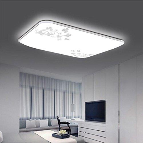 BiuTeFang LED plafonnier en acrylique en aluminium avec lampe de salon à LED simple rectangulaire avec cadre en or blanc 65x43cm 48W