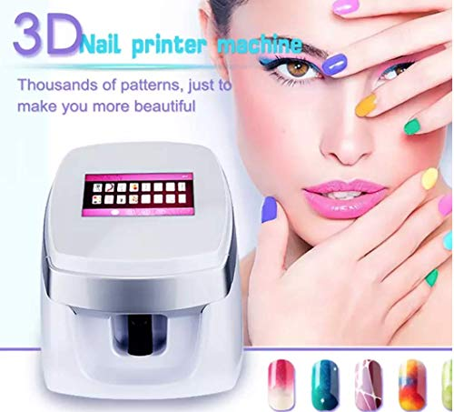 Newest Portable 3D Nail Printers Portable Painting Machine Automatic Mobile Wireless Transfer Digital All-Intelligent Nail Printers (Pink)