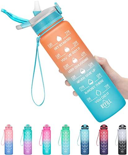 MEITAGIE Botella de Agua, Sin BPA Tritan Botella de Agua Deporte 1000ML, con Pajita y...